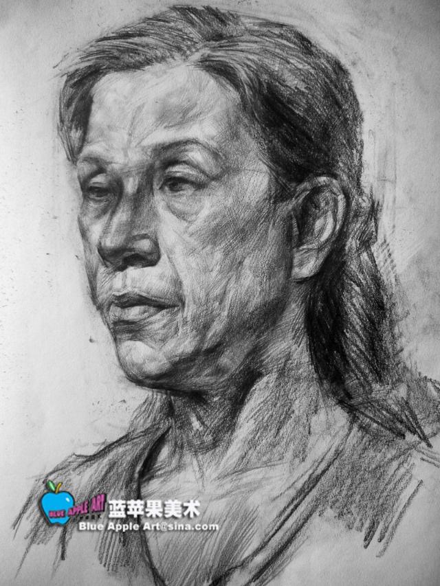 中年女人头像素描-蓝苹果艺术-搜狐博客