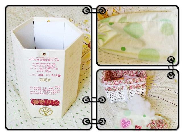 材料有:一个六角形的酒盒子(如果没有,用圆形的纸盒也行,或随便什么形状)、布、丝棉。 制作过程:首先用那块绿色的布给酒盒做了一个外套。我没量尺寸,直接在上面比划着缝的(最好用有松紧的布,即使缝的不合适也没关系),然后一头做个可抽拉式的紧口。再在上面做个小装饰,套上,把底下封上就可以了。把卫生纸的芯抽出来,放里面就可以了