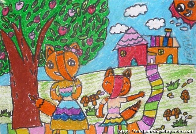 幼儿园大班风景蜡笔画