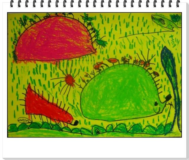 小班美术活动小 刺猬背果果