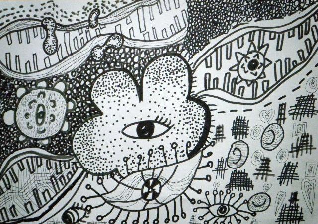 儿童线描画6p:优秀儿童黑白线描画高清大图欣赏3_  儿童黑白画作品图片