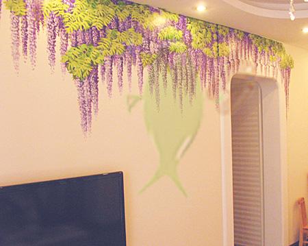 图片:墙体手绘【紫藤花】超写实油画[迦诺